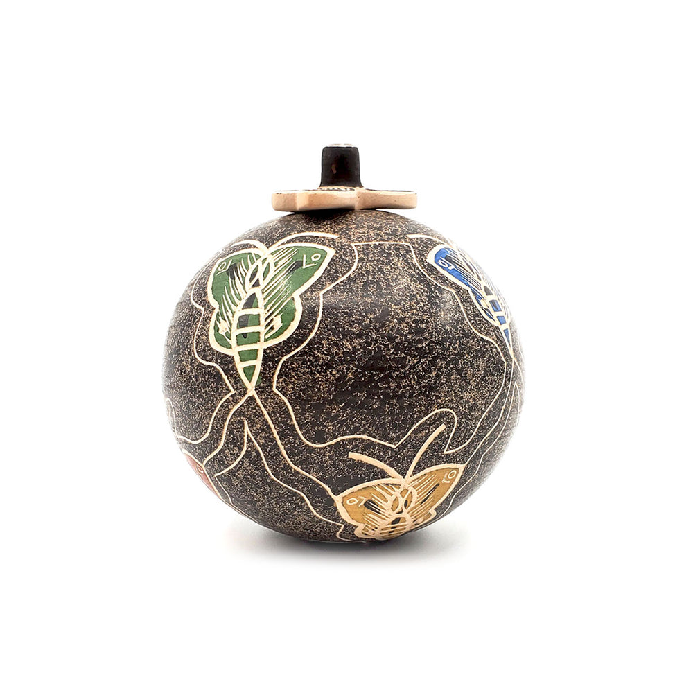 Mata Ortiz Round Lidded Pot with Butterfly