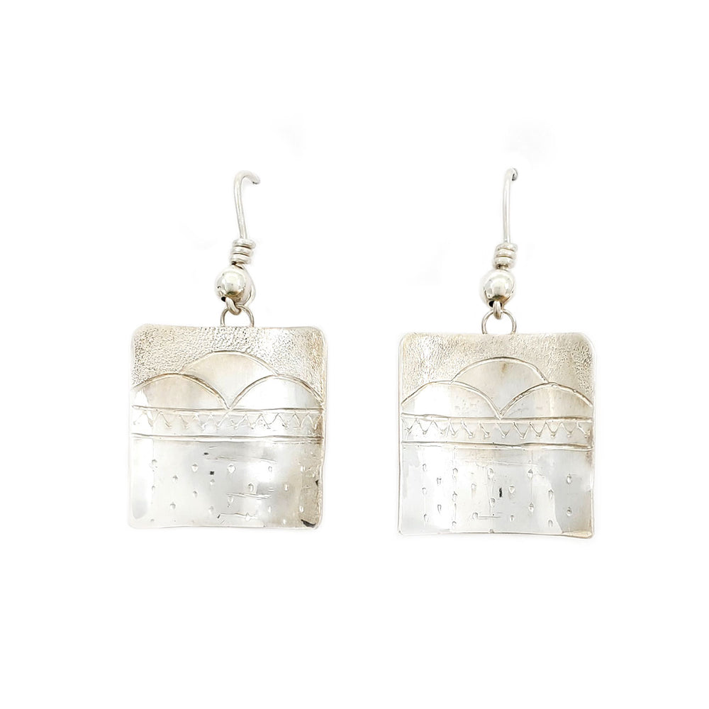 Howard Sice: Sterling Silver Square Dangle Earring #2