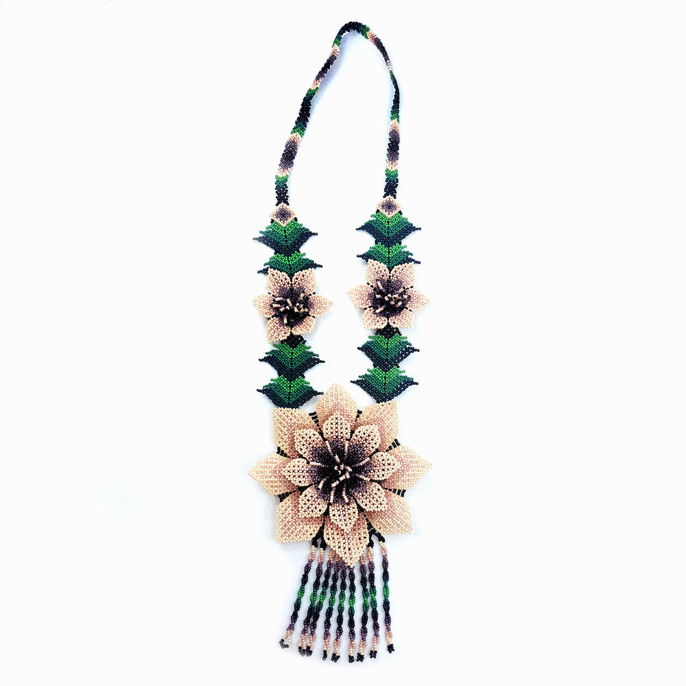 Huichol Flower Necklace - Dusty Mauve