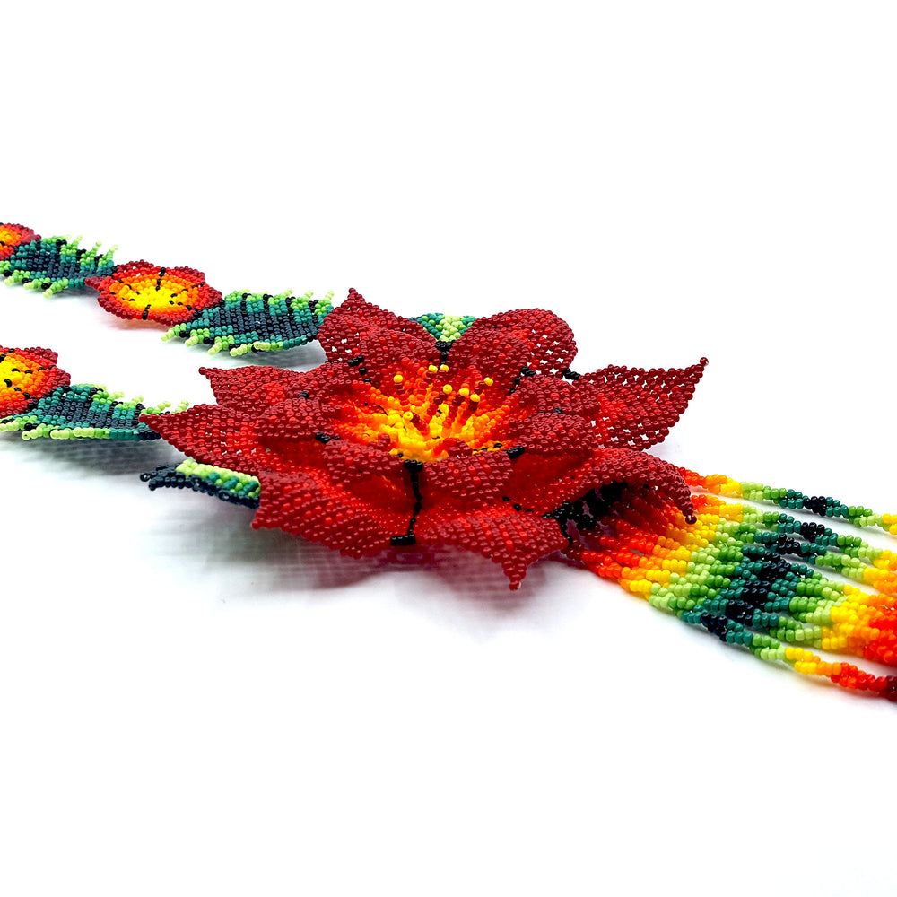 Huichol Flower Necklace - Red