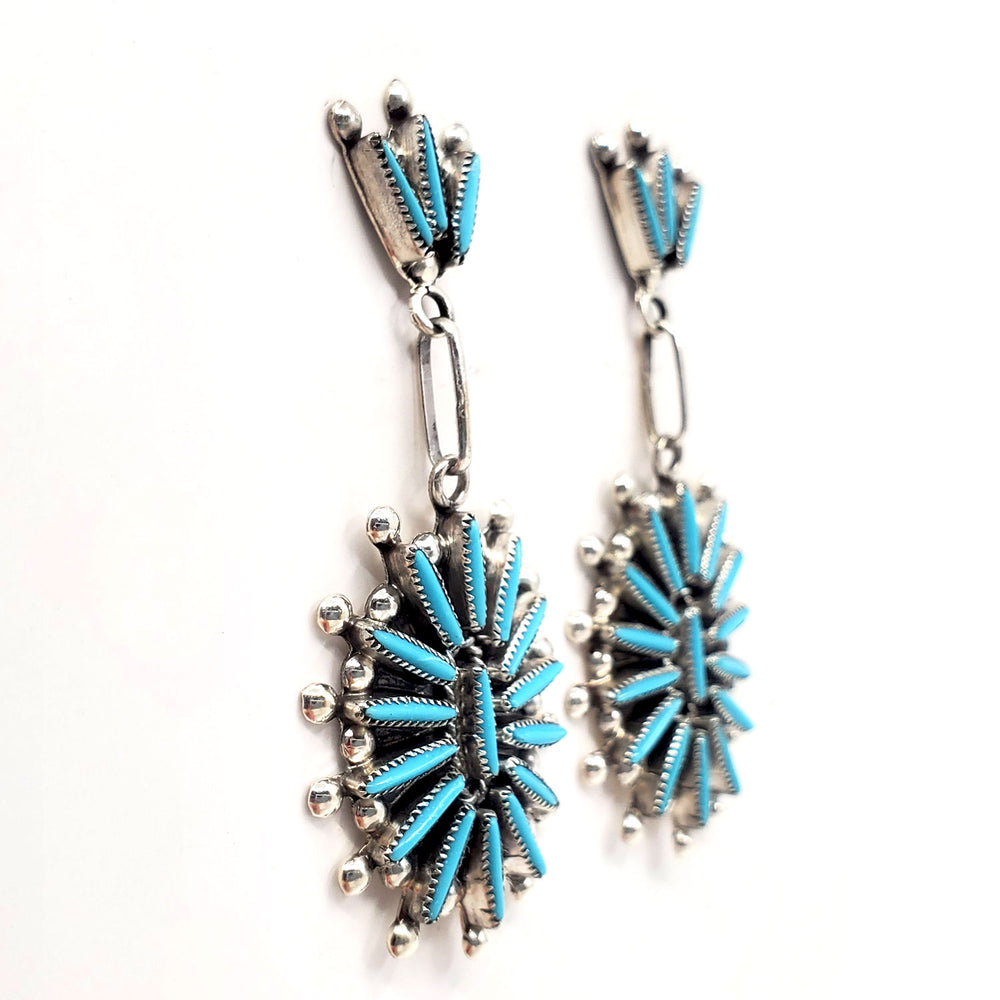 Zuni Needlepoint Dangle Earrings - Lance Waatsa
