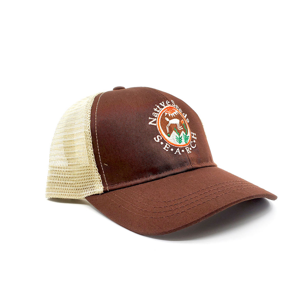 Trucker Logo Hat - Beige Mesh/Brown