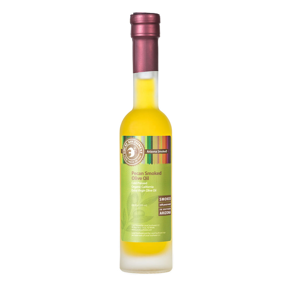 Cold Pressed Organic California Extra Virgin Olive Oil, smoked with Pecan wood in Southern Arizona. No artificial flavorings or additives.  Subtle taste, excellent with grilled meats, drizzled on wild rice or in a spinach salad with salmon, dried cherries and chopped pecans.  Best Seller!