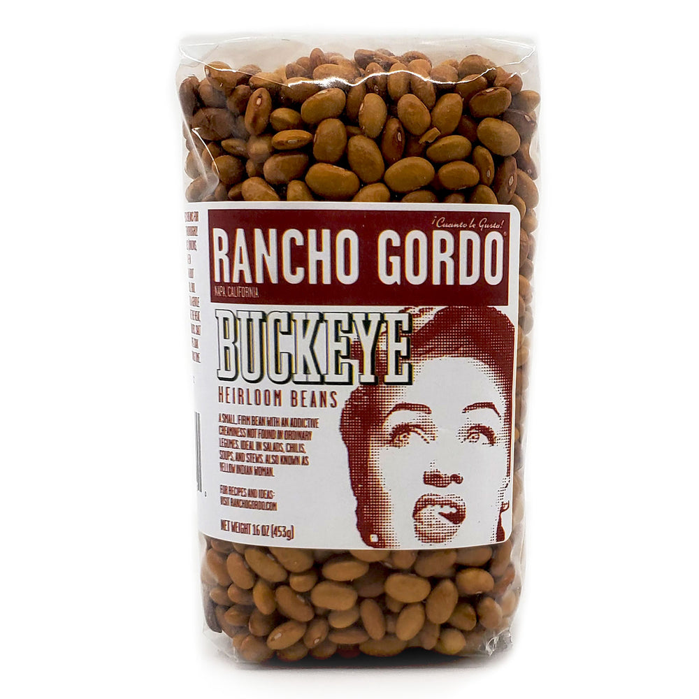rancho gordo buckeye heirloom beans. Buckeye's are incredibly creamy, more like a classic black turtle bean than anything else.