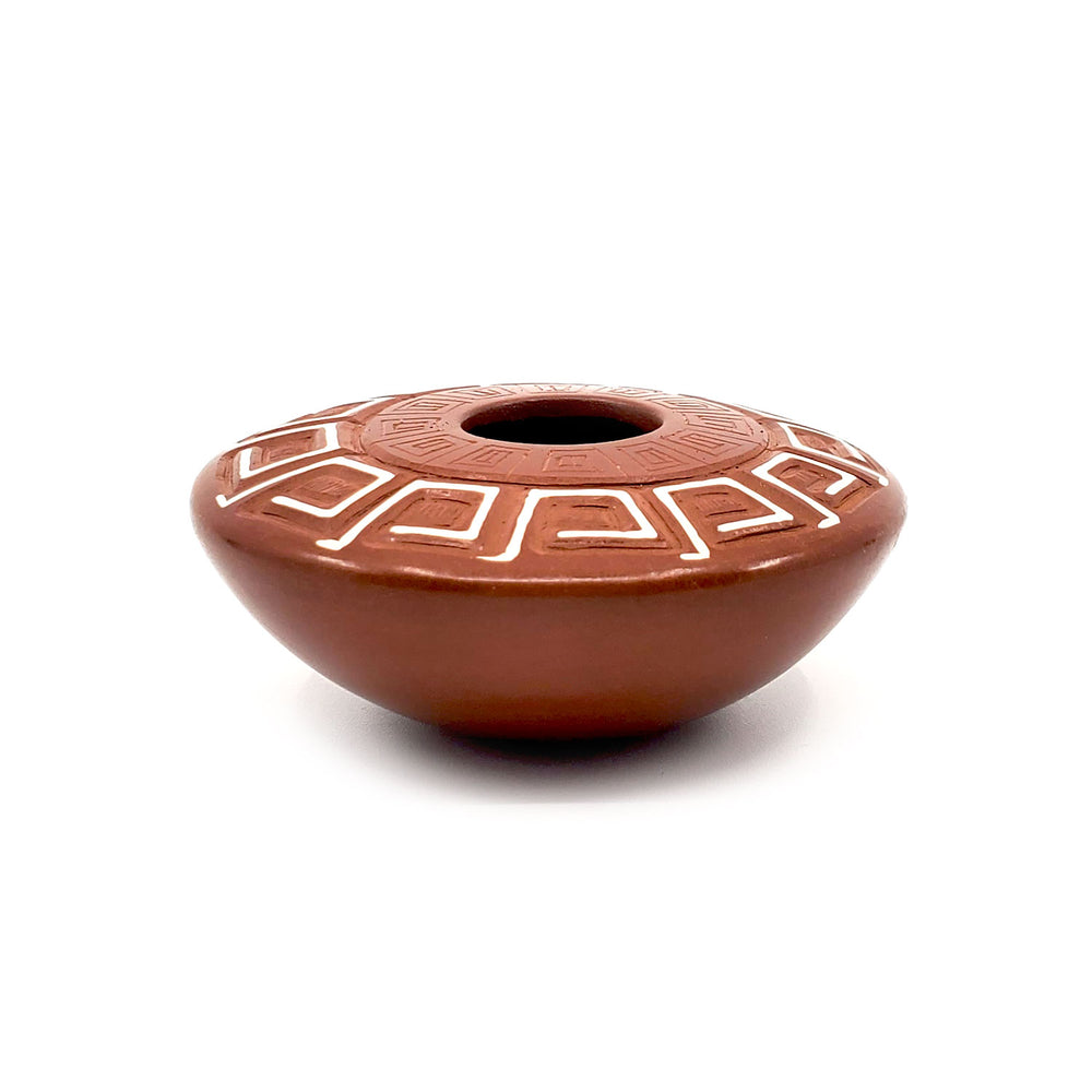 Red Seed Pot with Carved Designs