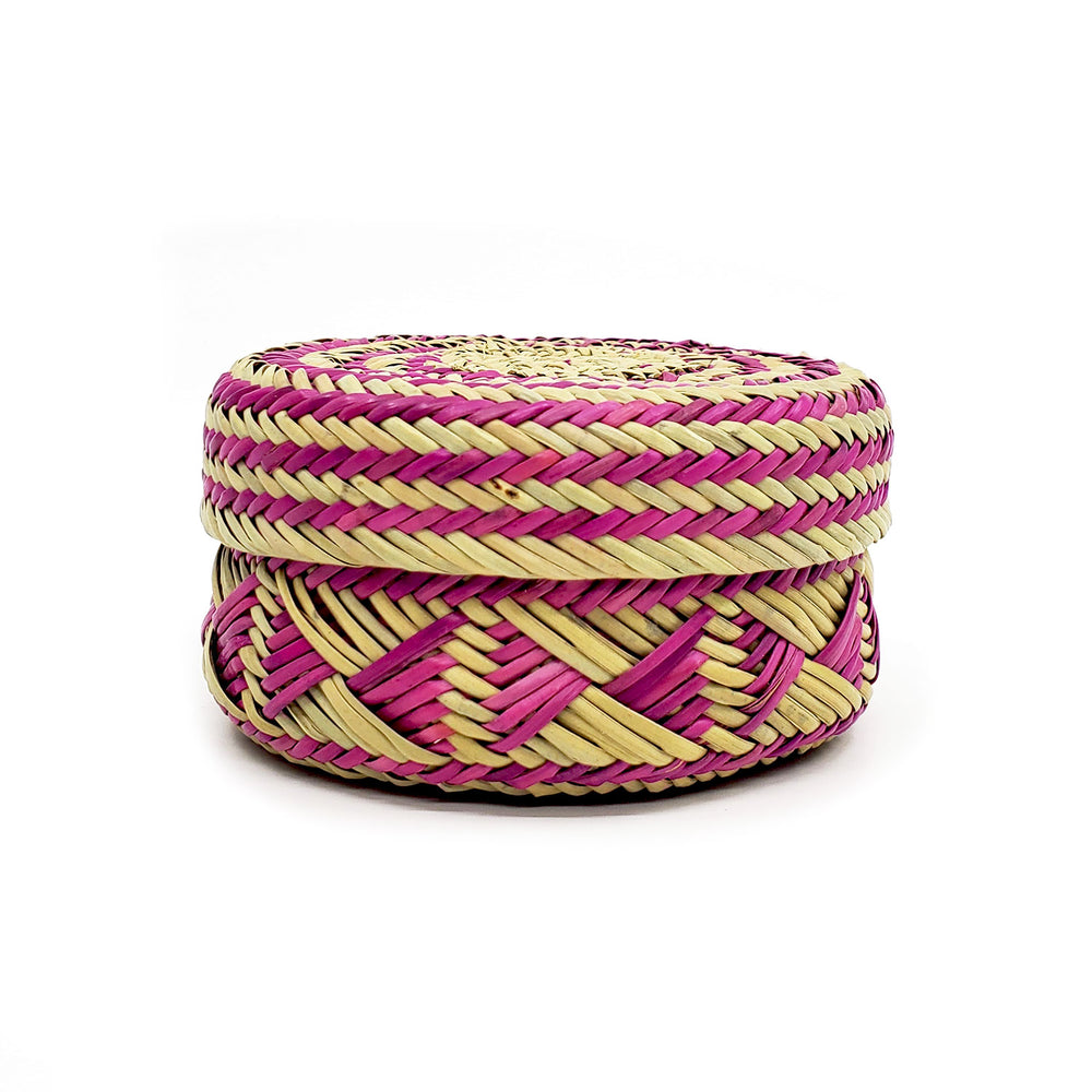 Tarahumara Pine Needle Lidded Basket - Magenta/Natural