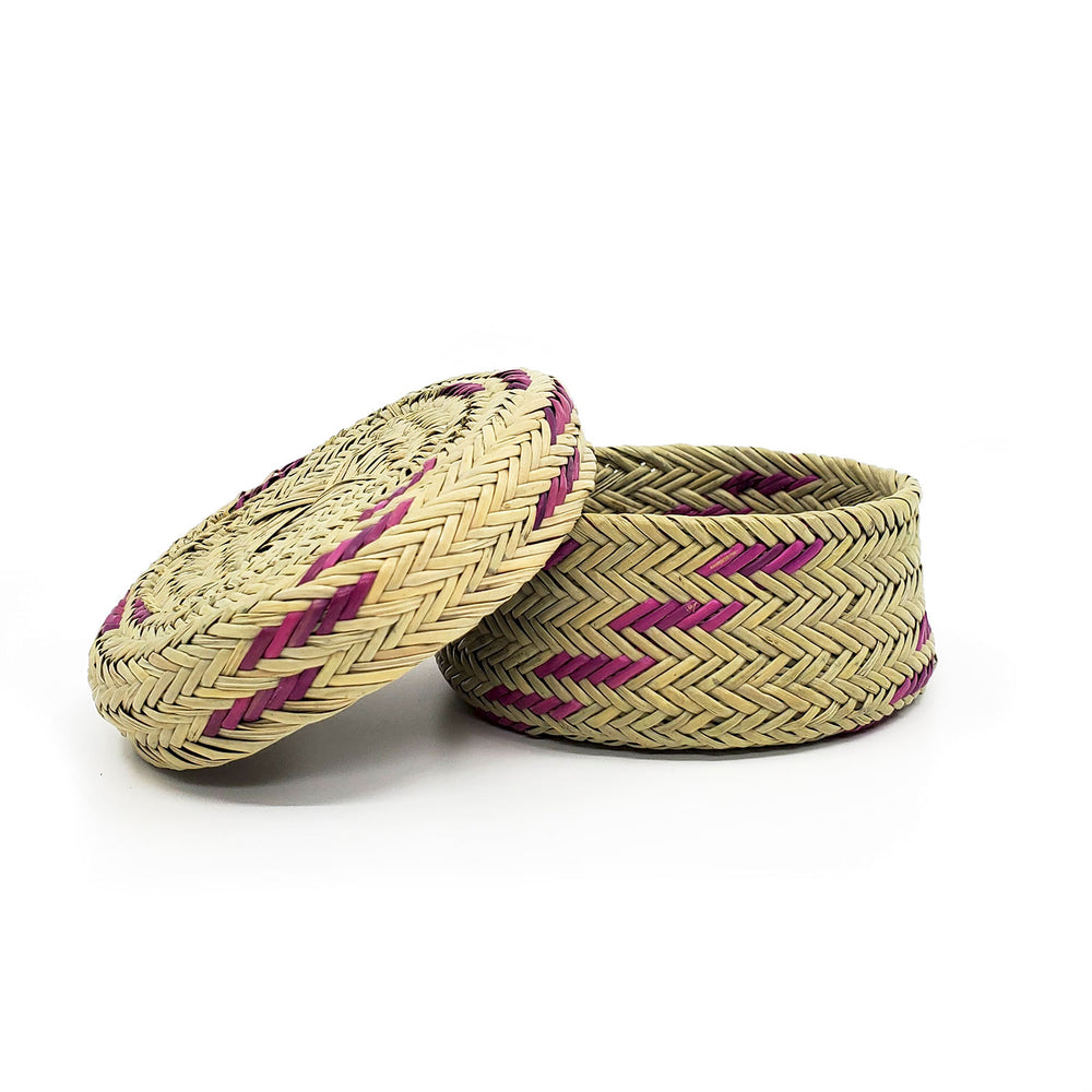 Tarahumara Pine Needle Lidded Basket - Natural/Purple Accents