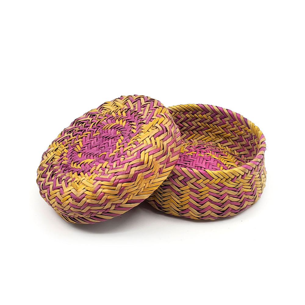 Tarahumara Pine Needle Lidded Basket - Yellow/Purple