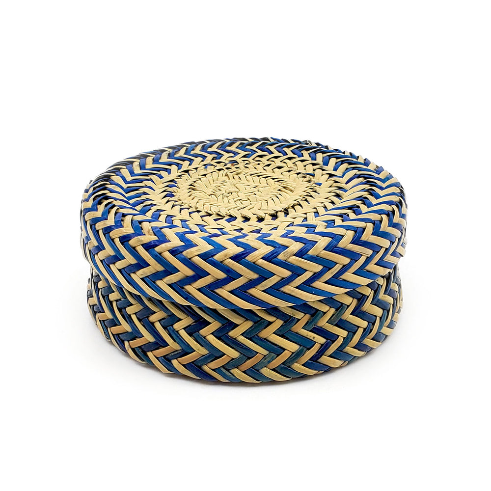 Tarahumara Pine Needle Lidded Basket - Blue/Natural Zigzag