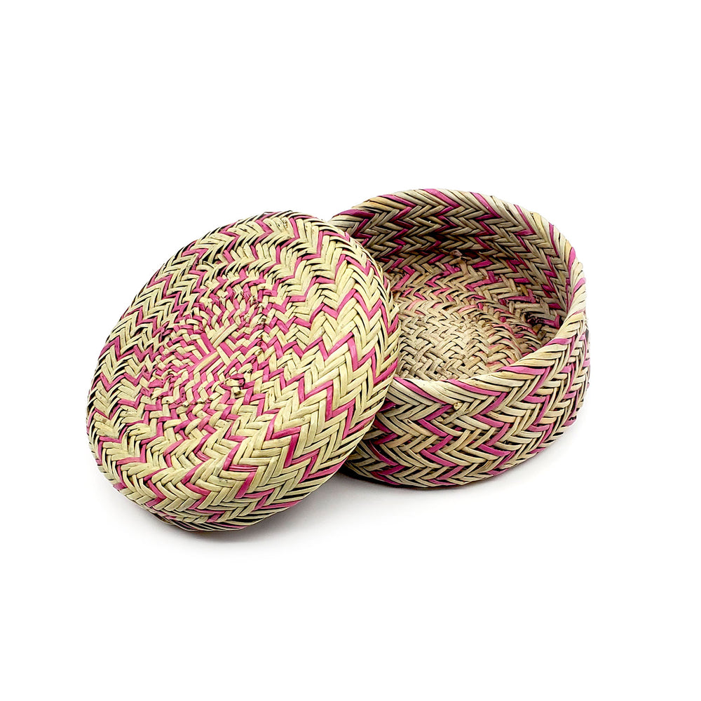 Tarahumara Pine Needle Lidded Basket - Light Purple Zigzag