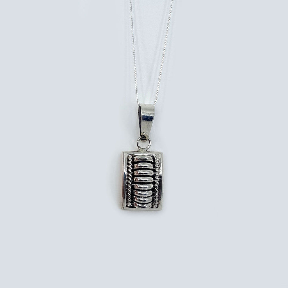 Tom Charlie: Silver Rectangle Pendant Necklace