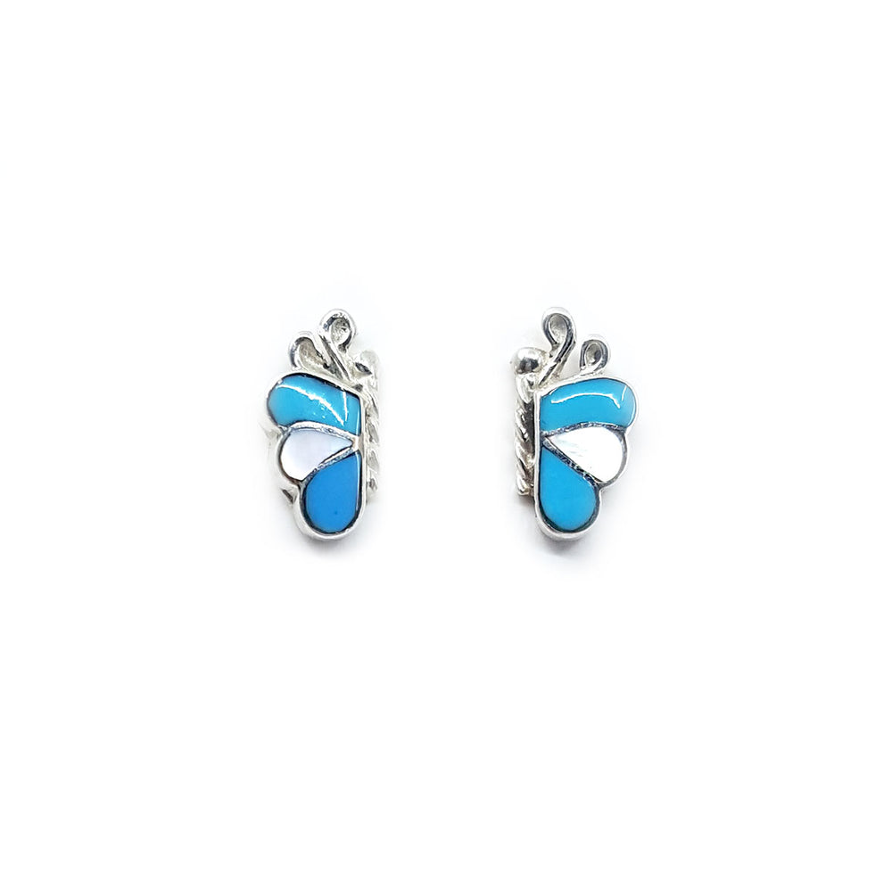 Zuni Butterfly Earrings in Turquoise & Mother of Pearl