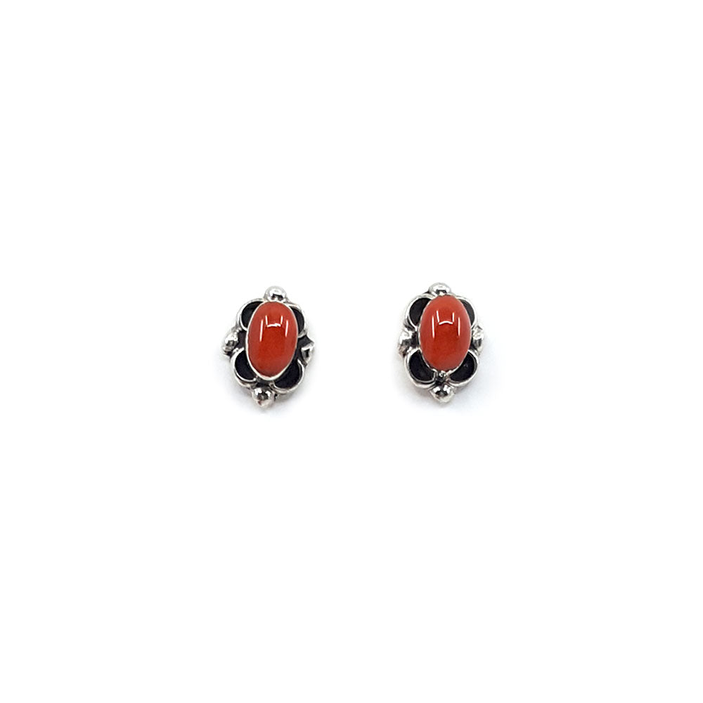 Zuni Stud Earring - Red Coral Oval
