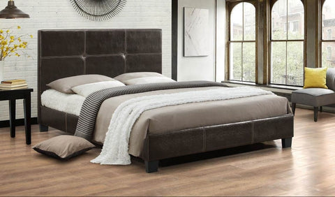 Image of Espresso Contrast Stitching PU Bed
