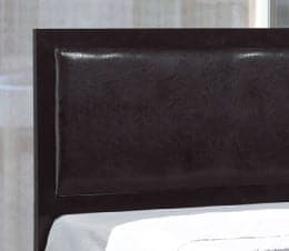 Image of Black Metal Padded Headboard Bed