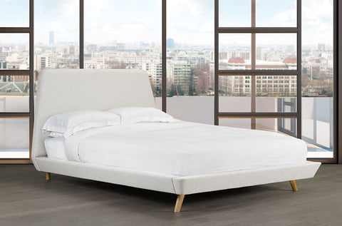 Image of Linen-Style Fabric Platform Bed and Headboard - DirectBed