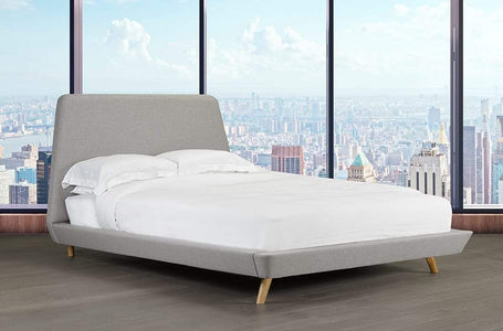 Linen-Style Fabric Platform Bed and Headboard - DirectBed