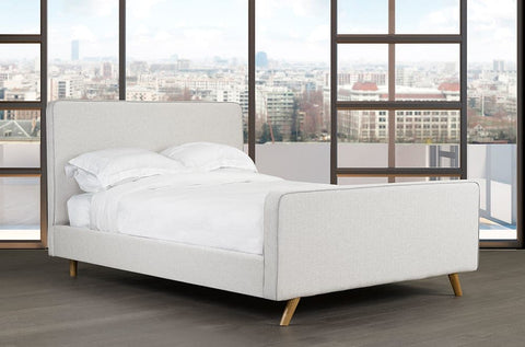 Image of Velvet Fabric Platform Bed and Headboard - DirectBed