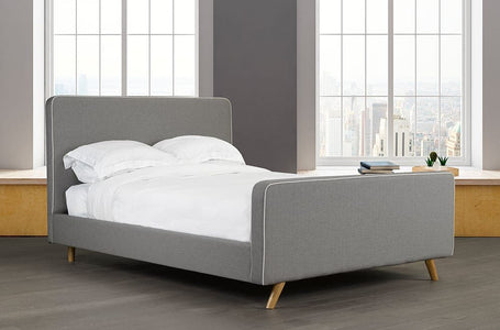 Velvet Fabric Platform Bed and Headboard - DirectBed