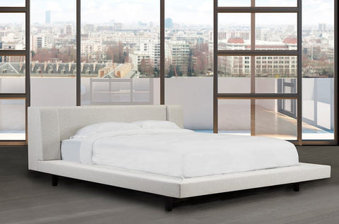 Image of Linen Platform Bed and Headboard - DirectBed