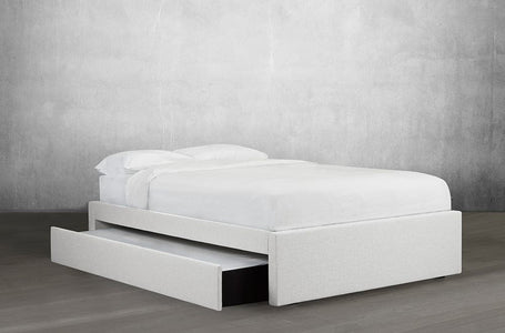Bonded Leather Platform Bed with Trundle - DirectBed
