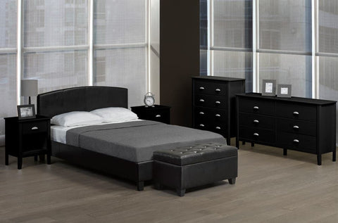 Leatherette Curved Panel Platform Bed - DirectBed