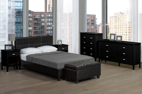 Contemporary Bonded Leather Platform Bed - DirectBed