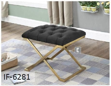 Image of Black Velvet Fabric Gold Legs Ottoman