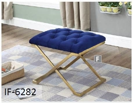 Image of Blue Velvet Fabric Gold Legs Ottoman