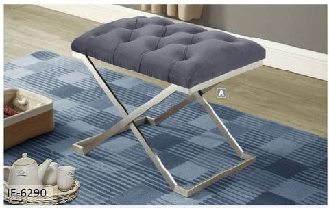 Image of Grey Velvet Fabric Stainless Steel Legs Ottoman