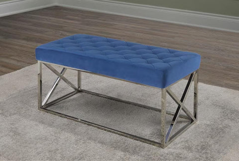 Image of Blue Velvet Fabric Chrome Bench Cushion