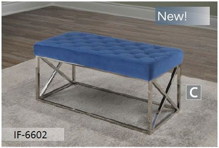 Blue Velvet Fabric Chrome Bench Cushion