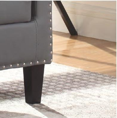 Image of Grey PU Tub Chair With Nail Heads