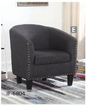 Image of Grey Fabric Tub Chair With Nail Heads