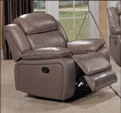 Image of Stone Colour Genuine Leather Recliner Chair