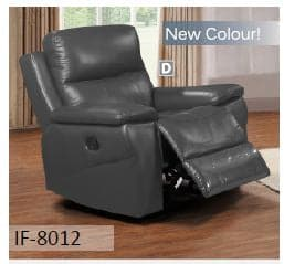 Grey Genuine Leather Recliner Chair