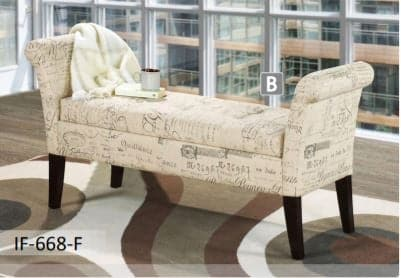 Beige French Fabric Bench