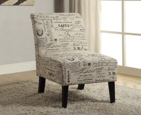 Image of Beige Fabric Accent Chair With French Script
