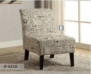 Beige Fabric Accent Chair With French Script