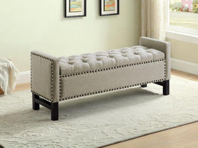 Beige Fabric Storage Bench with Chrome Nailhead