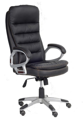 Image of Black Cushion PU Office Chair with Contrast