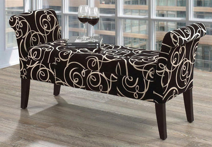 French Fabric Swirl Bench