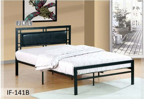 Image of Black Metal Bed With A Padded Headboard