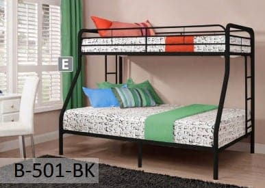 Image of Black Metal Twin Full Bunk Bed