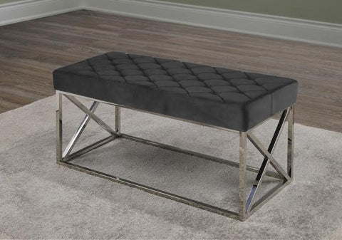 Image of Black PU Chrome Bench Cushion