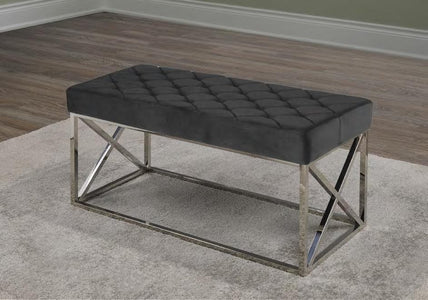 Black PU Chrome Bench Cushion