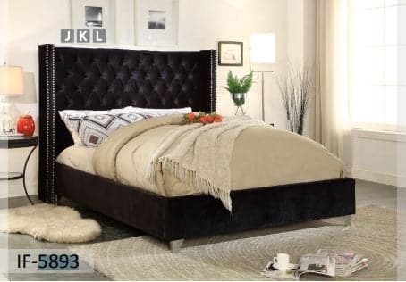 Image of Black Velvet Fabric Bed