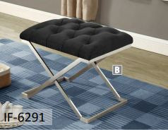 Image of Black Velvet Fabric Stainless Steel Legs Ottoman