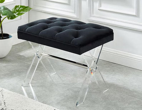 Image of Black Velvet with Acrylic Legs and Chrome Accents