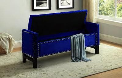 Blue Fabric Storage Bench with Chrome Nailhead